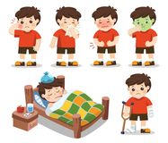 Set of A boy get sick. He has high temperature. royalty free illustration
