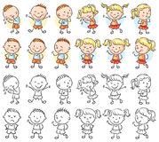 Set of boy and girl characters with different emotions Royalty Free Stock Photo