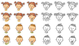 Set of boy and girl faces with different emotions Royalty Free Stock Photos