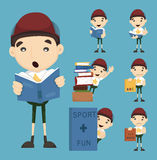 Set of boy learn Stock Photo
