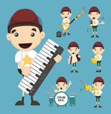 Set of boy and music Royalty Free Stock Photo