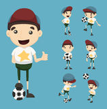 Set of boy play football Royalty Free Stock Images