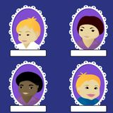 Set of boy portrait in oval frame Royalty Free Stock Image