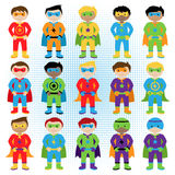 Set of Boy Superheroes in Vector Format Royalty Free Stock Images