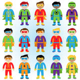 Set of Boy Superheroes in Vector Format. In Standing Pose Royalty Free Stock Photography