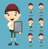 Set of boy and tablet Stock Photos