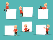 Set boy in various poses next to a poster. The boy says, shows. Ideal for pre-school educational posters Stock Photos