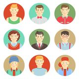 Set of boys avatar faces in flat style Stock Photo