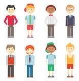Set of boys in casual  smart and sports clothes. Set of eight different colorful vector smiling boys in casual  smart and sports clothes with diverse hairstyles Stock Photography