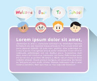 Set of boys face cartoon character say welcome back to school in gray quote text box and purple poster on blue background Stock Images