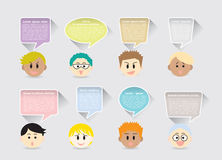 Set of boys face cartoon characters and colorful quote text box design. Royalty Free Stock Photo