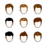 Set of boys faces, human heads. Different vector characters. Set of boys faces, human heads. Different vector characters like redhead and brunet, cute Royalty Free Stock Image