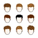 Set of boys faces, human heads. Different vector characters like. Redhead and brunet toddlers, cute teenagers collection Stock Images