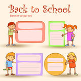 Set of Boys and girls with banners.Vector illustration Royalty Free Stock Photo
