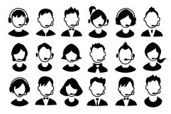 Set of boys and girls operator icons. Royalty Free Stock Photography