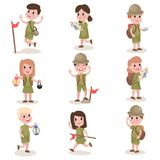 Set of boys and girls scouts with hiking equipment, summer camp activities Royalty Free Stock Photos