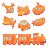 Set of boys toys - transport cartoons Stock Image