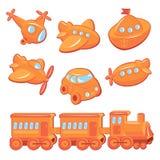Set of boys toys - transport cartoons royalty free illustration