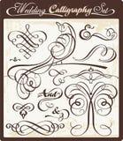 set bröllop för calligraphy Royaltyfri Bild