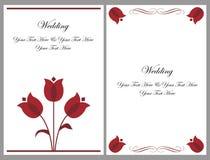 set bröllop för kortinbjudan Arkivfoto