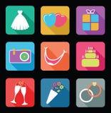 1 set bröllop för symbolsdel Royaltyfri Bild