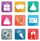 1 set bröllop för symbolsdel Royaltyfria Bilder