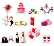 set bröllop för tecknad filmsymbol royaltyfri illustrationer