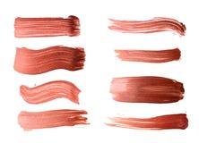 Set brązu muśnięcia uderzenia akrylowa farba jak próbkę sztuka produkt Fotografia Stock
