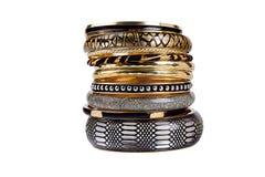 Set of bracelets. Isolated on white Royalty Free Stock Photography