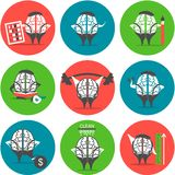 Set of brain icons Royalty Free Stock Photo