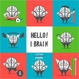 Set of brain icons Royalty Free Stock Photography