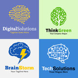 Set of brain logo, icons and design elements Stock Images