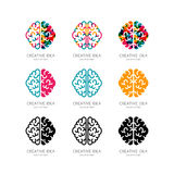 Set of  brain logo, sign, emblem design elements. Royalty Free Stock Images