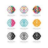Set of  brain logo, sign, emblem design elements. Royalty Free Stock Images
