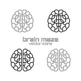 Set of brain maze icons Royalty Free Stock Photography