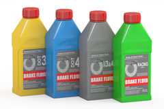 Set of Brake Fluid Bottles, 3D rendering Stock Images