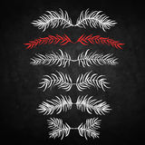 Set branch. Set of decorative doodle branches. six different branches and symmetrical reflection. Black background Stock Photography