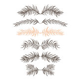 Set branch. Set of decorative doodle branches. six different branches and symmetrical reflection. White background Stock Images