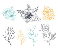 Set of branches and flowers for decoration. Done in pastel colors. Background white Stock Photo