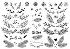 Set of branches, snowflakes, flowers, design elements. Set of hand drawn branches with leaves, snowflakes, flowers, hearts, dividers, borders, style design Stock Photography