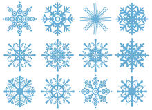 Set of brand new snowflakes Stock Images