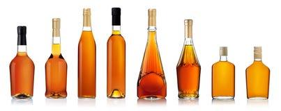 Set of brandy bottles stock photos