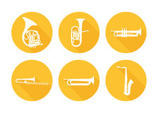 Set of Brass Musical Orchestra Instruments Royalty Free Stock Photography