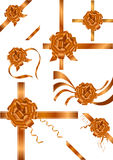 Set braune Farbbänder mit Bogen vektor abbildung