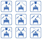 Set of Brazier cooking  icons Stock Photography