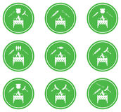 Set of Brazier cooking  icons. Vector illustration Royalty Free Stock Images