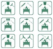 Set of Braziercooking  icons. Vector illustration Royalty Free Stock Photography