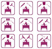 Set of Braziercooking  icons. Vector illustration Royalty Free Stock Image