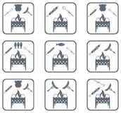 Set of Braziercooking  icons Stock Photography