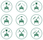 Set of Braziercooking  icons Royalty Free Stock Photos